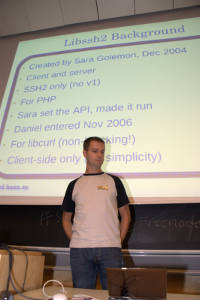 Me in front of the projector screen doing libssh2 talk